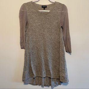Topshop Hi-Lo Sheer Sleeve Tunic Sweater